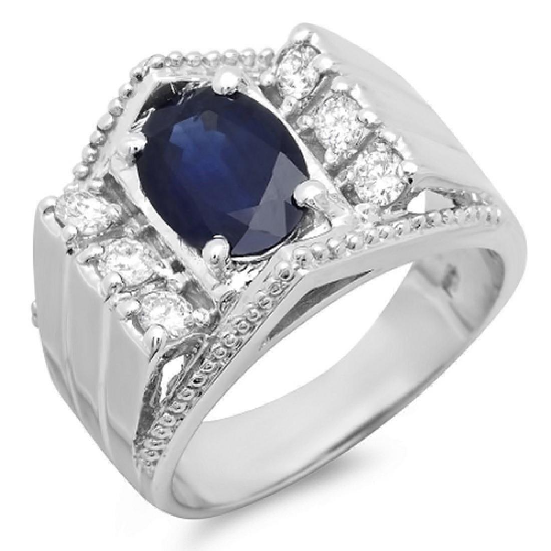 Mens 3.60 Carat Natural Sapphire 18K Solid White Gold