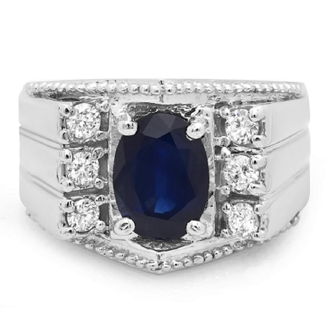 Mens 3.60 Carat Natural Sapphire 18K Solid White Gold - 2