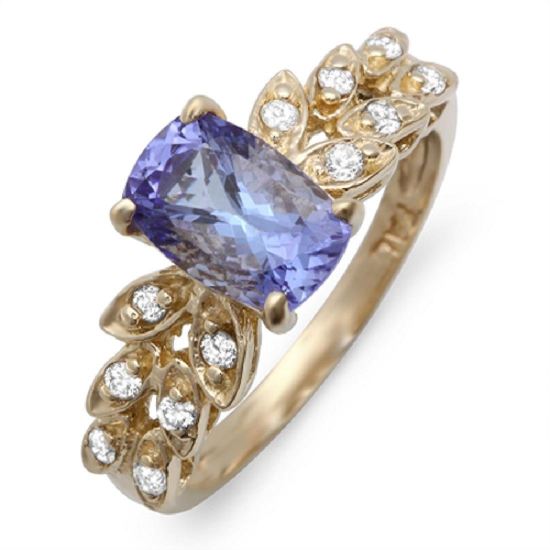 1.78 Carat Natural Tanzanite 18K Solid Yellow Gold