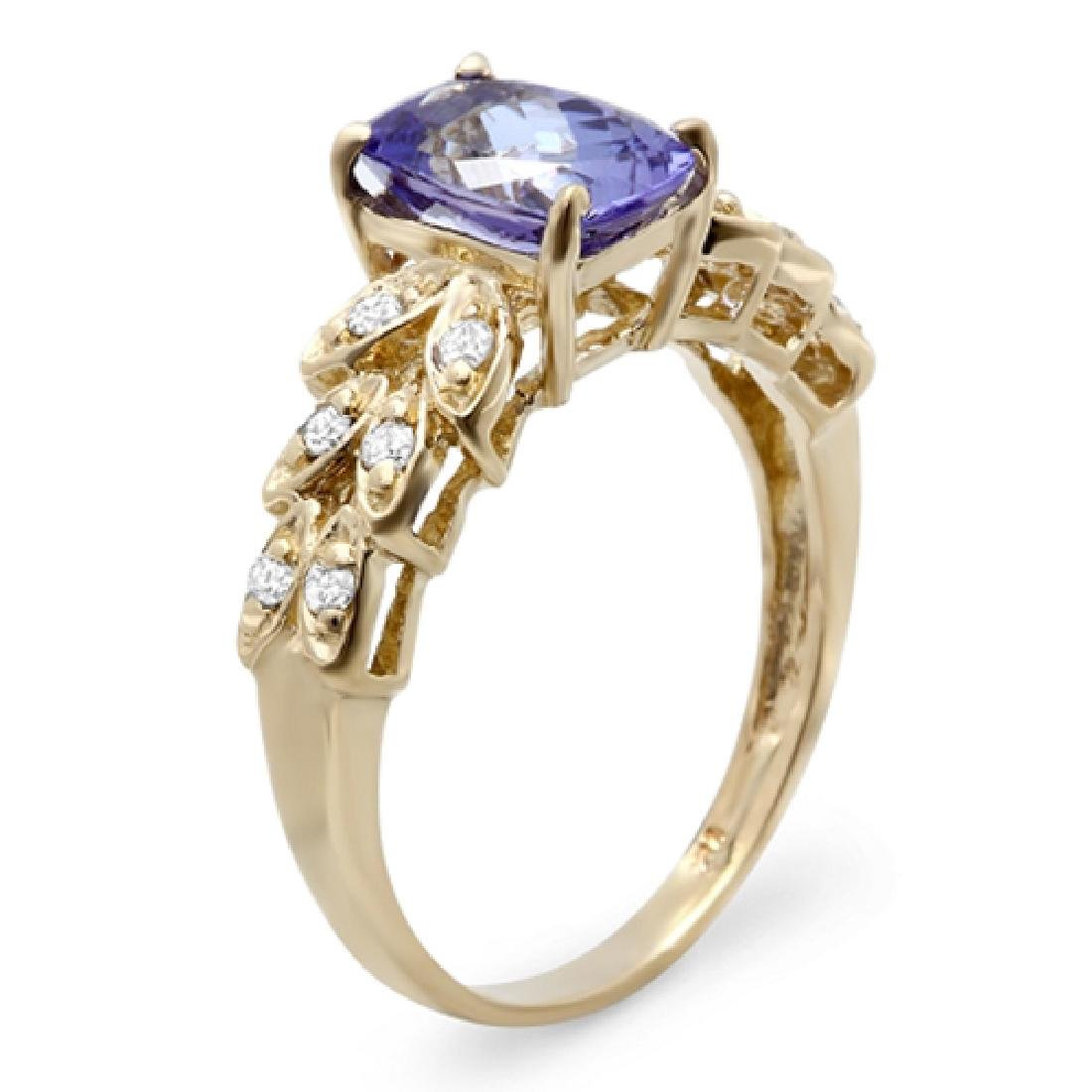 1.78 Carat Natural Tanzanite 18K Solid Yellow Gold - 2