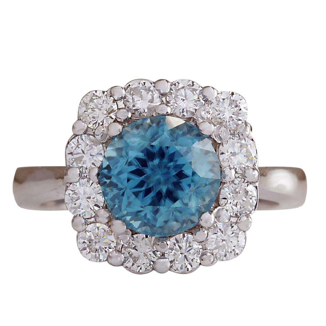 5.33CTW Natural Blue Zircon And Diamond Ring 18K Solid