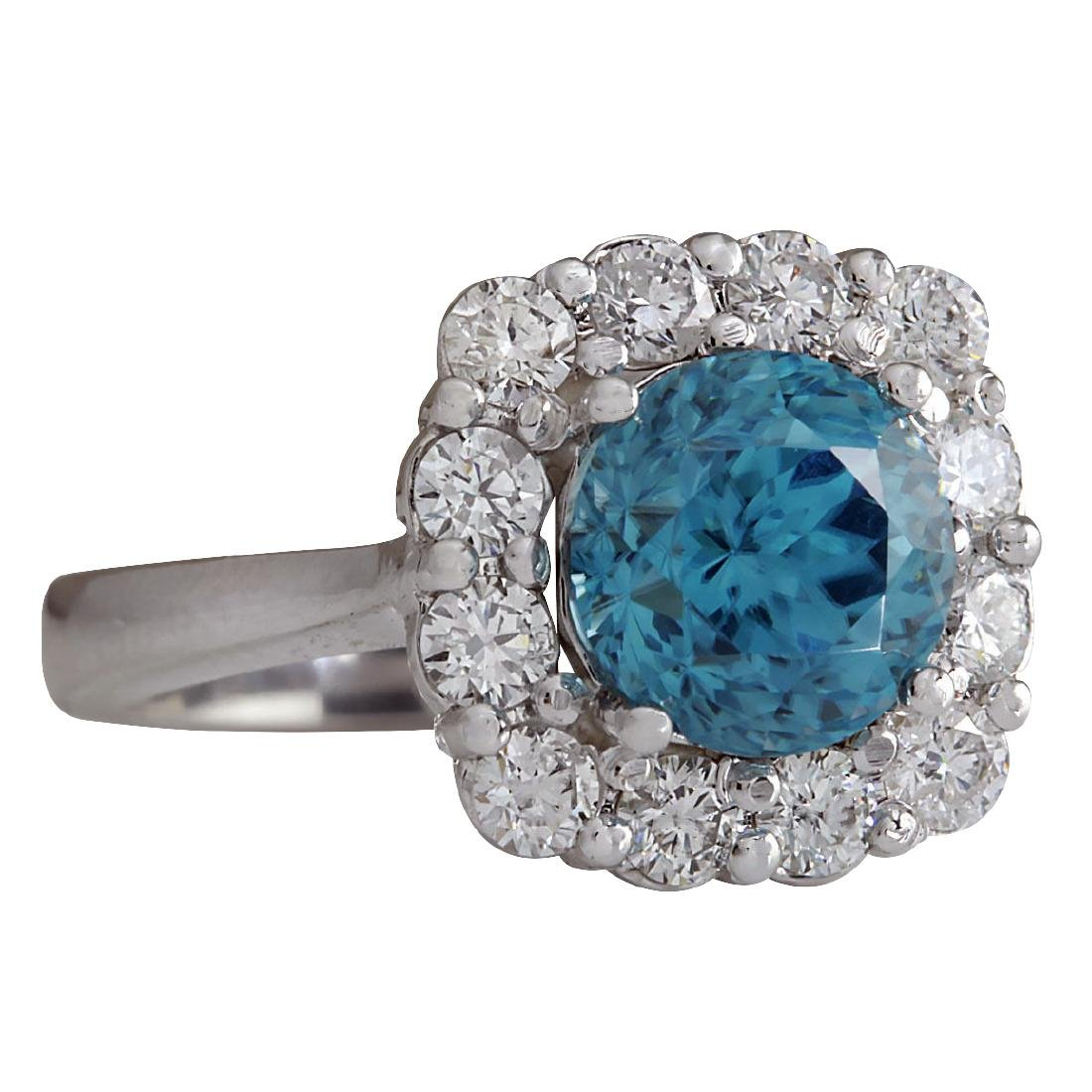 5.33CTW Natural Blue Zircon And Diamond Ring 18K Solid - 2