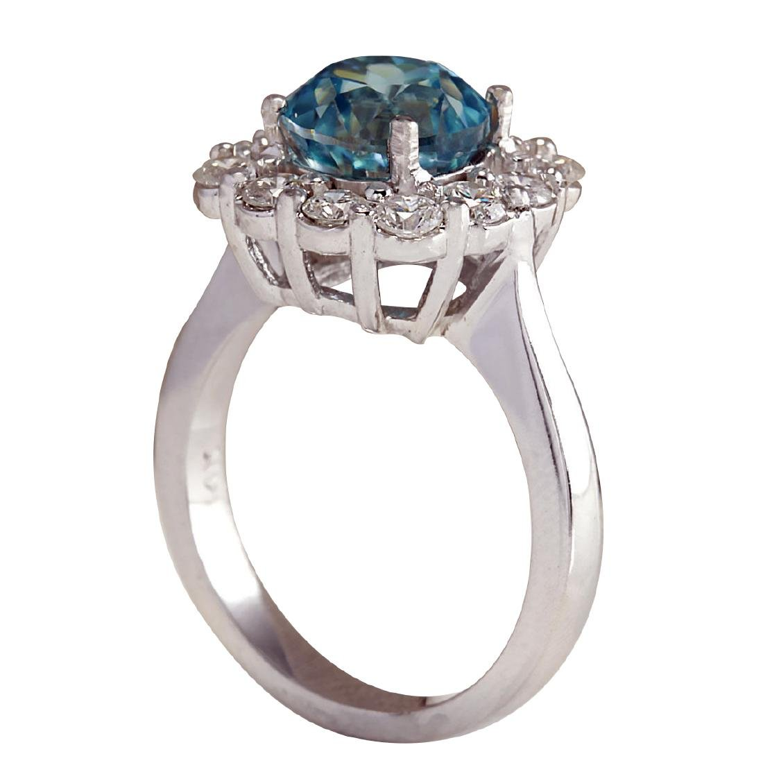 5.33CTW Natural Blue Zircon And Diamond Ring 18K Solid - 3