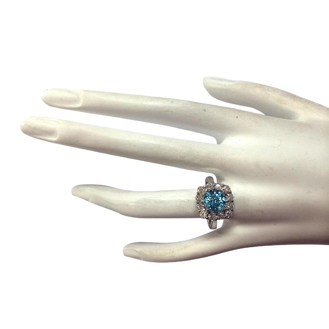 5.33CTW Natural Blue Zircon And Diamond Ring 18K Solid - 4