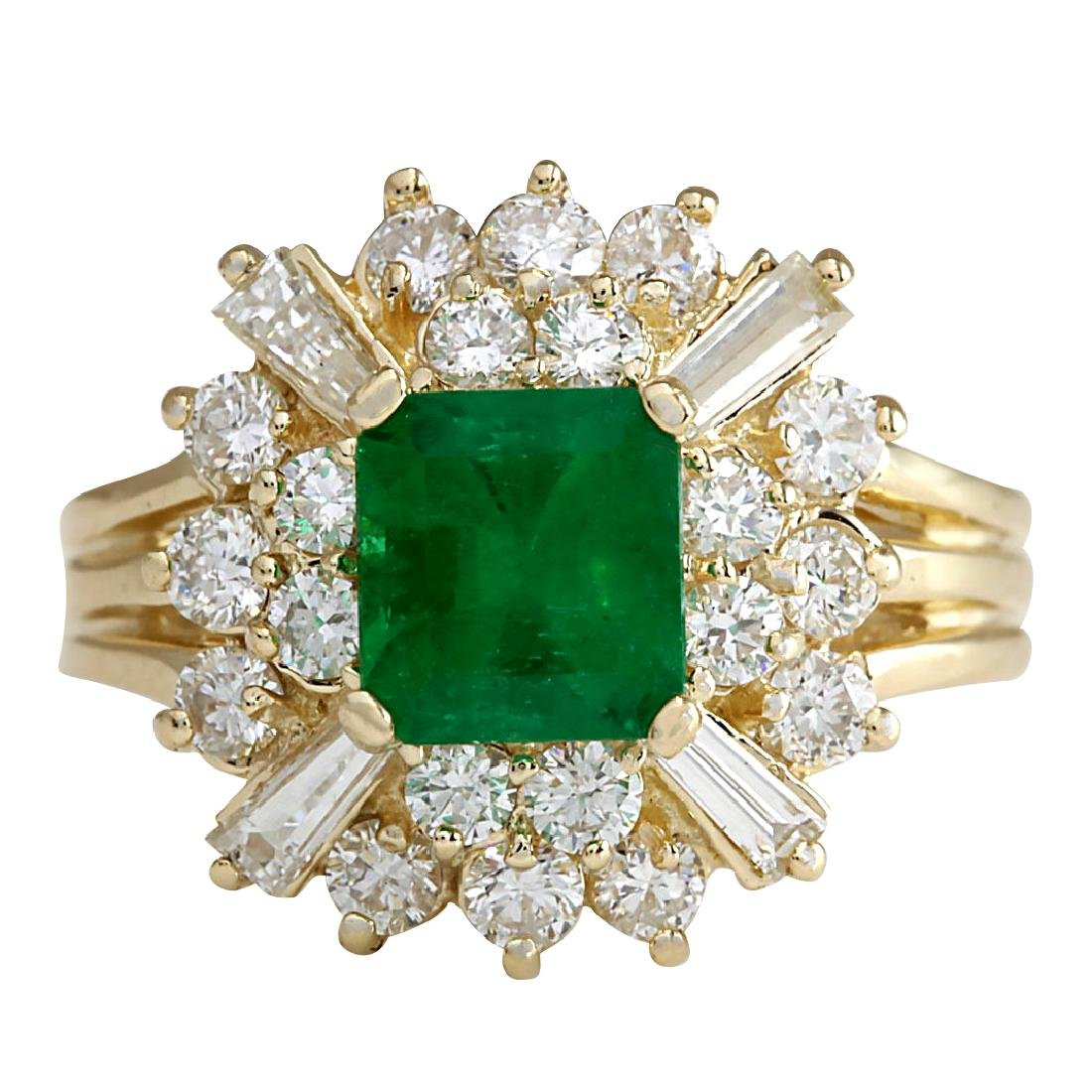 2.31CTW Natural Emerald And Diamond Ring 18K Solid