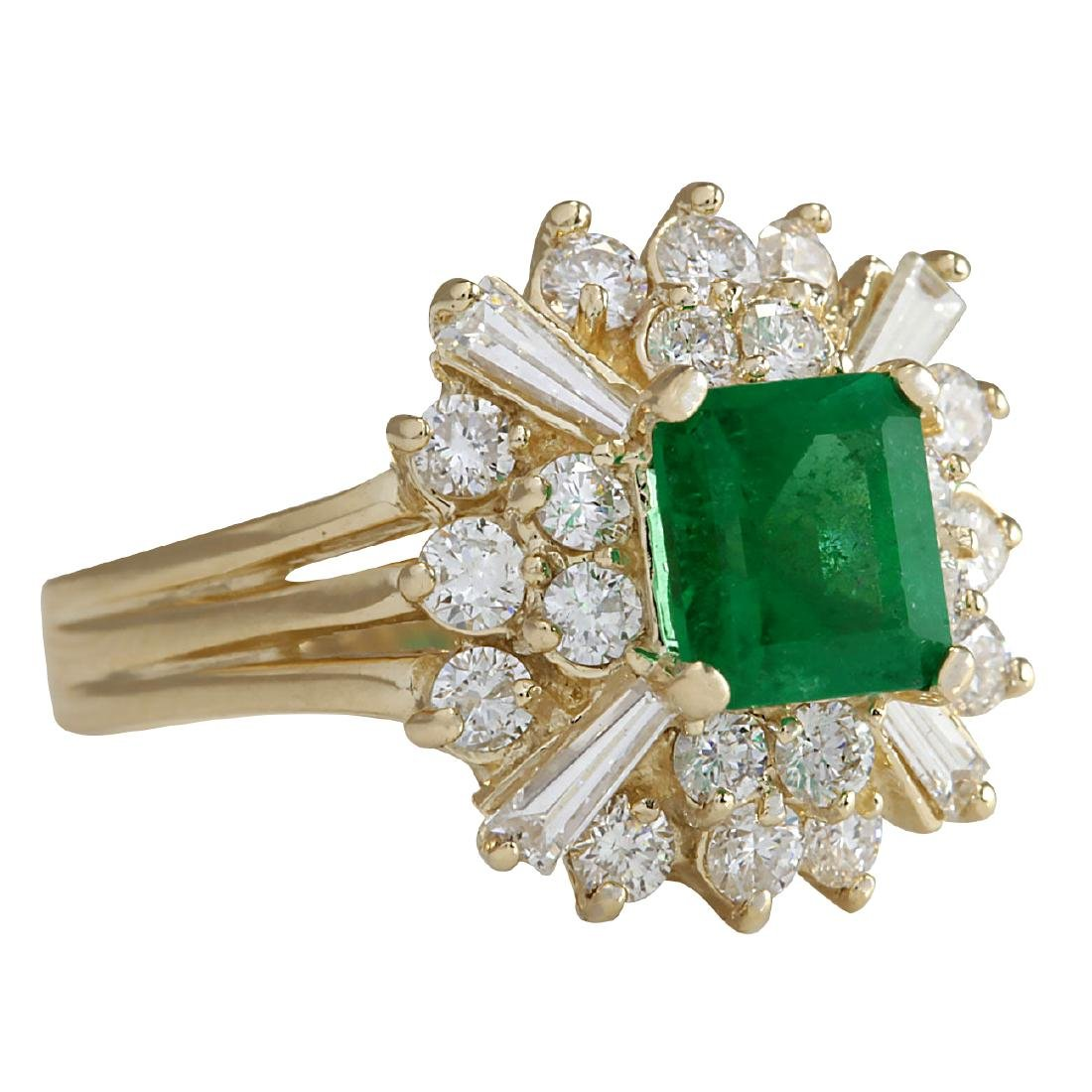2.31CTW Natural Emerald And Diamond Ring 18K Solid - 2