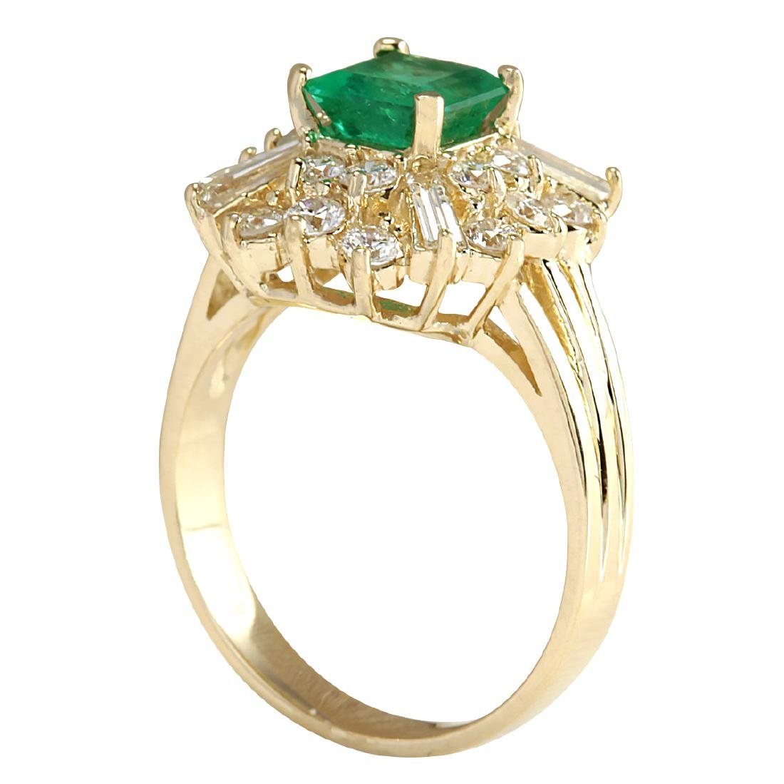 2.31CTW Natural Emerald And Diamond Ring 18K Solid - 3