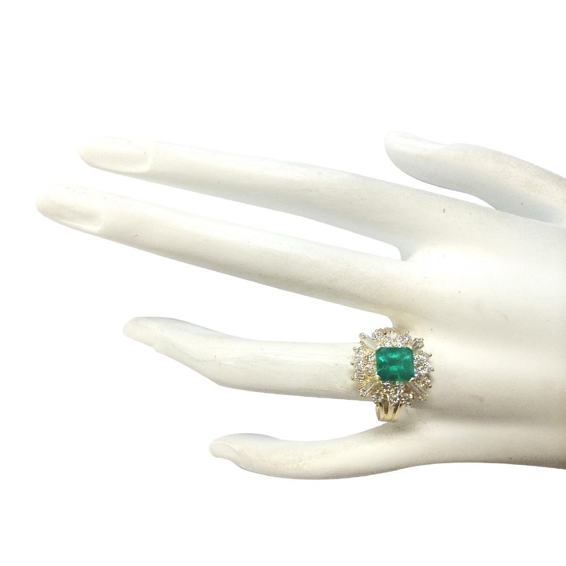 2.31CTW Natural Emerald And Diamond Ring 18K Solid - 4