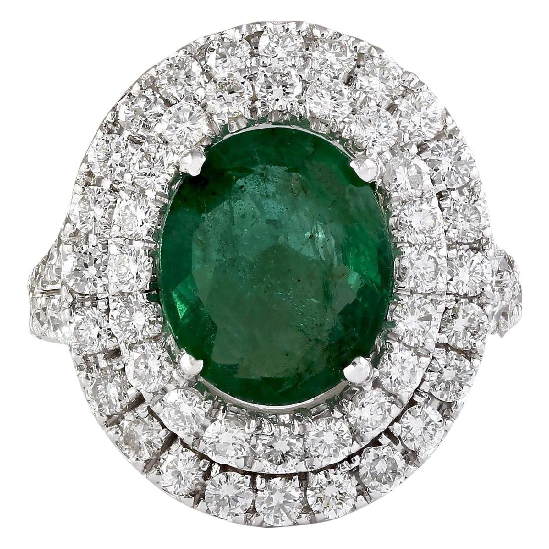 4.69 CTW Natural Emerald And Diamond Ring In 18K White