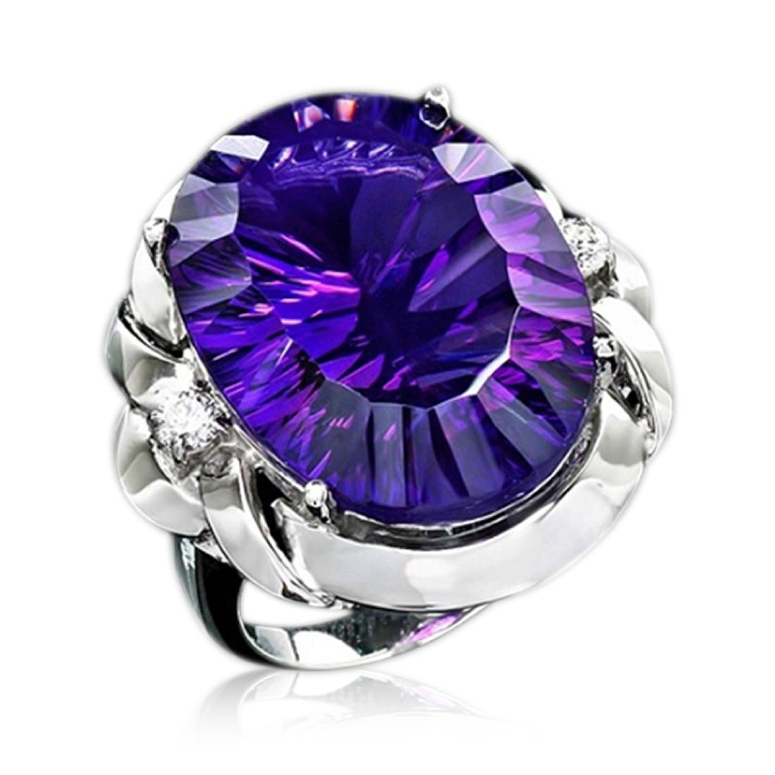 29.25 Carat Natural Amethyst 18K Solid White Gold