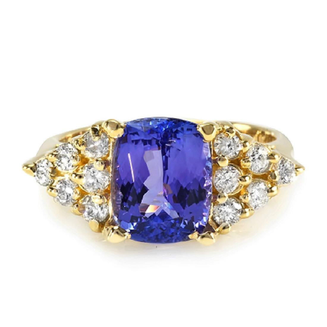 2.70 Carat Natural Tanzanite 18K Solid Yellow Gold