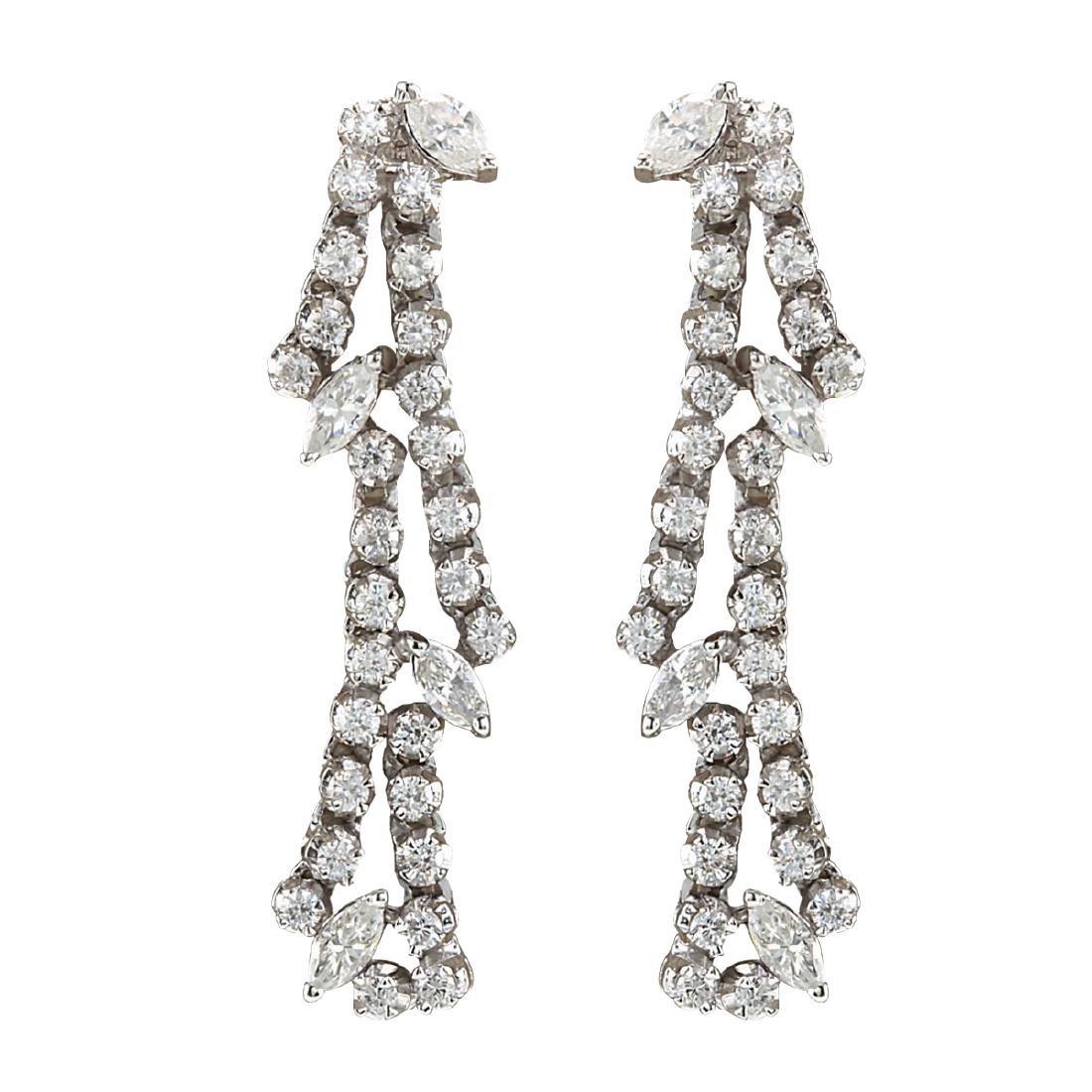 4.00CTW Natural Diamond Earrings 18K Solid White Gold