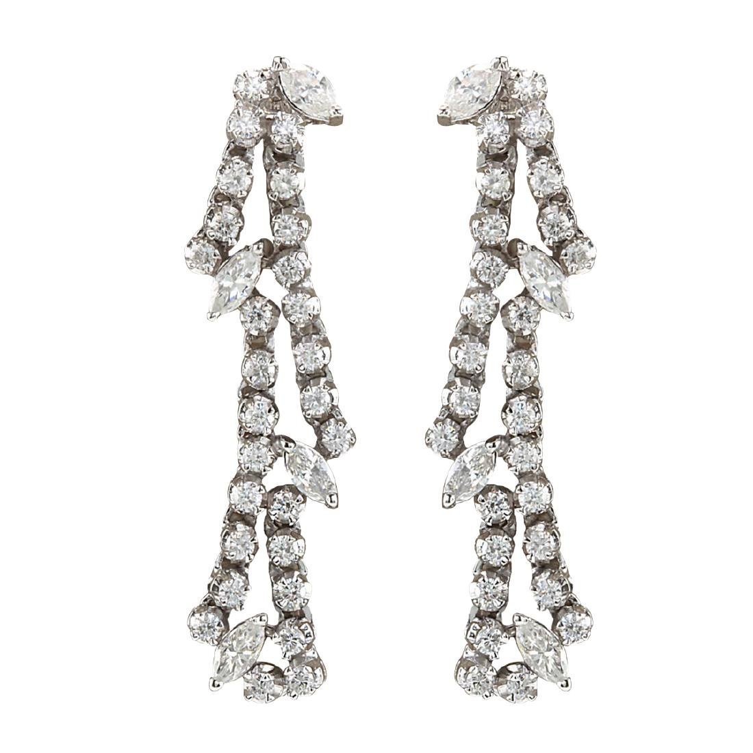 4.00CTW Natural Diamond Earrings 18K Solid White Gold