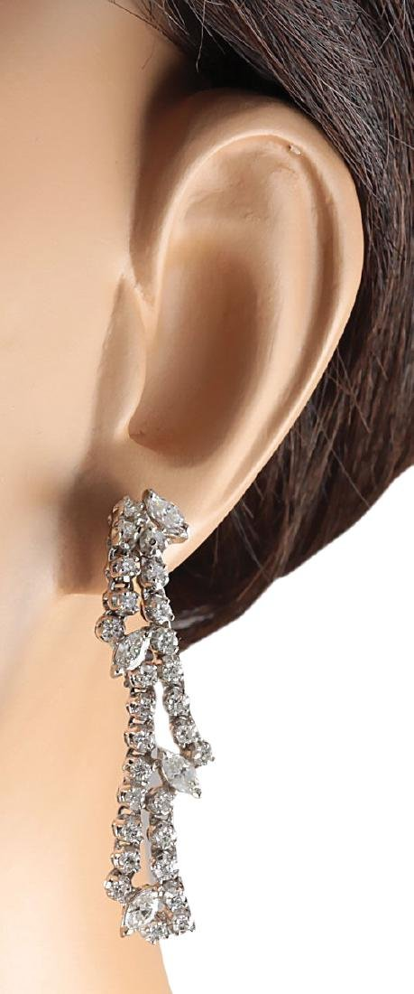 4.00CTW Natural Diamond Earrings 18K Solid White Gold - 3
