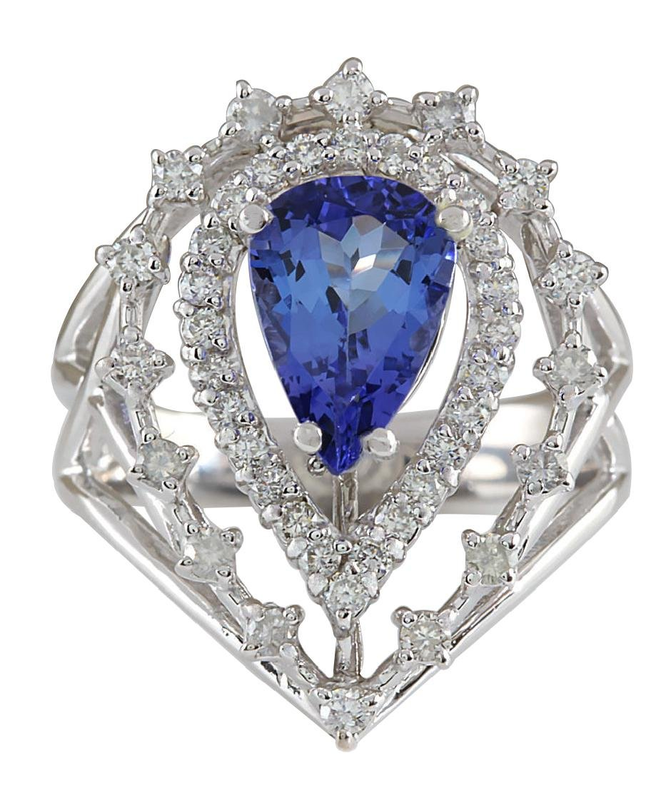 2.74CTW Natural Blue Tanzanite And Diamond Ring 18K