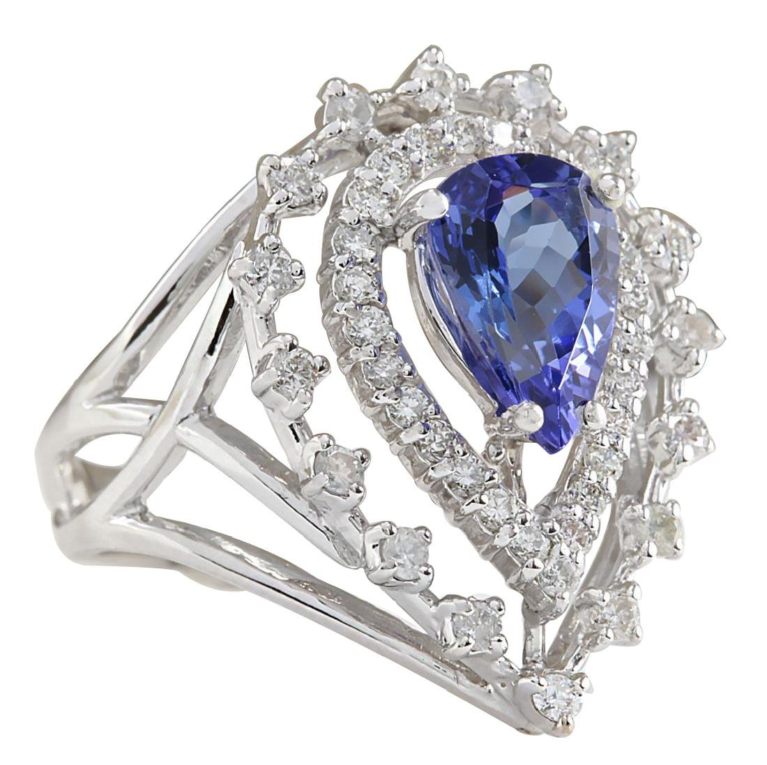 2.74CTW Natural Blue Tanzanite And Diamond Ring 18K - 2