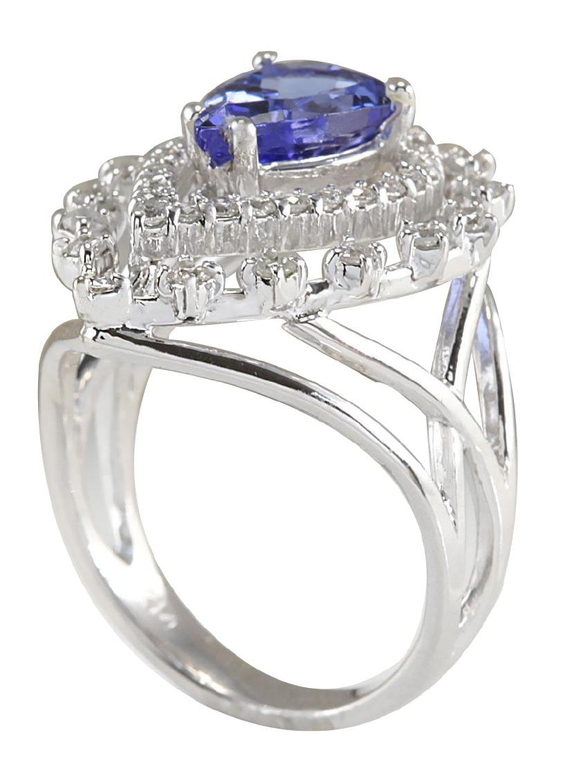 2.74CTW Natural Blue Tanzanite And Diamond Ring 18K - 3