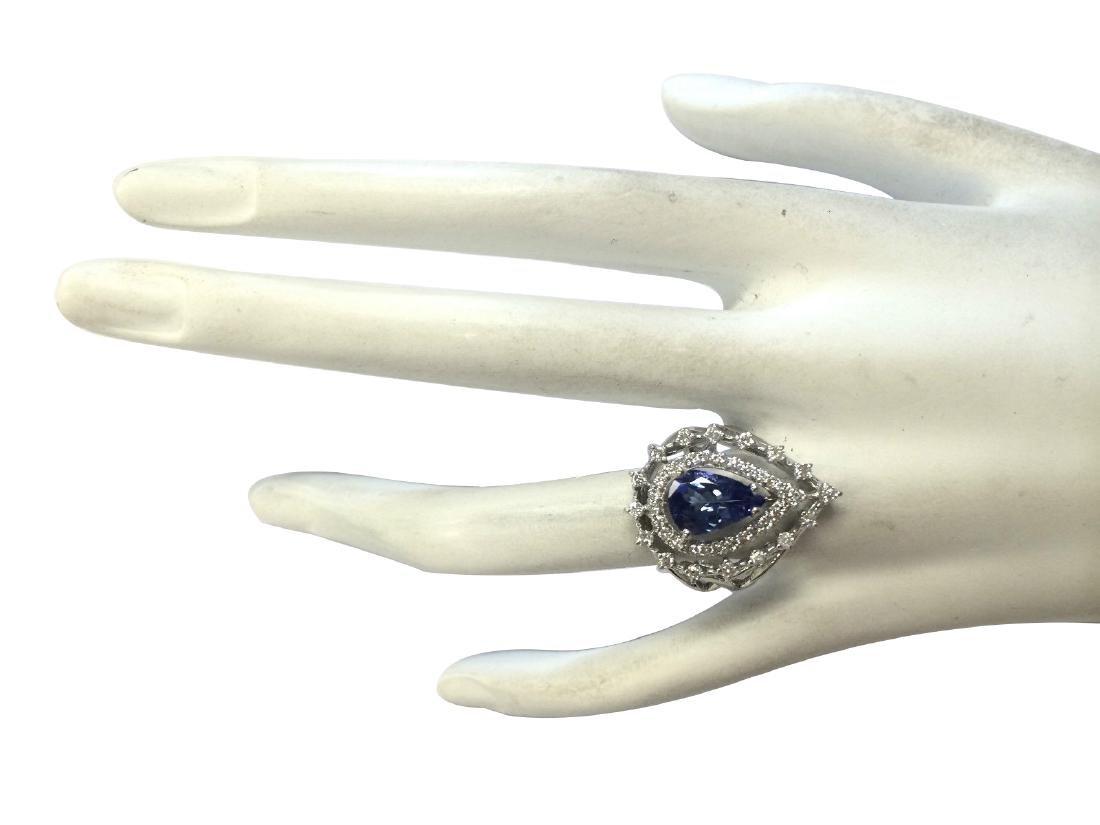 2.74CTW Natural Blue Tanzanite And Diamond Ring 18K - 4