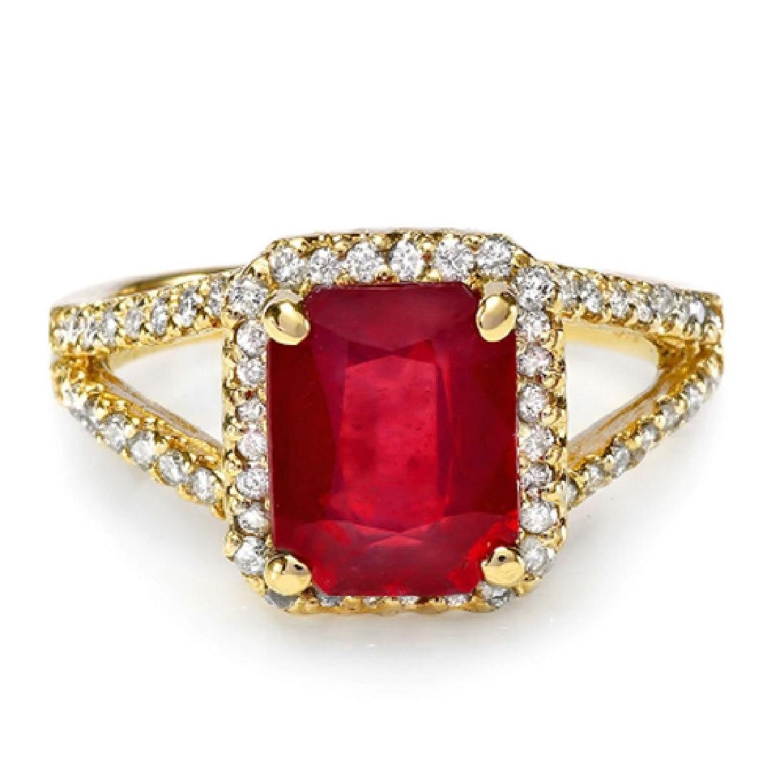 3.70 Carat Natural Ruby 18K Solid Yellow Gold Diamond