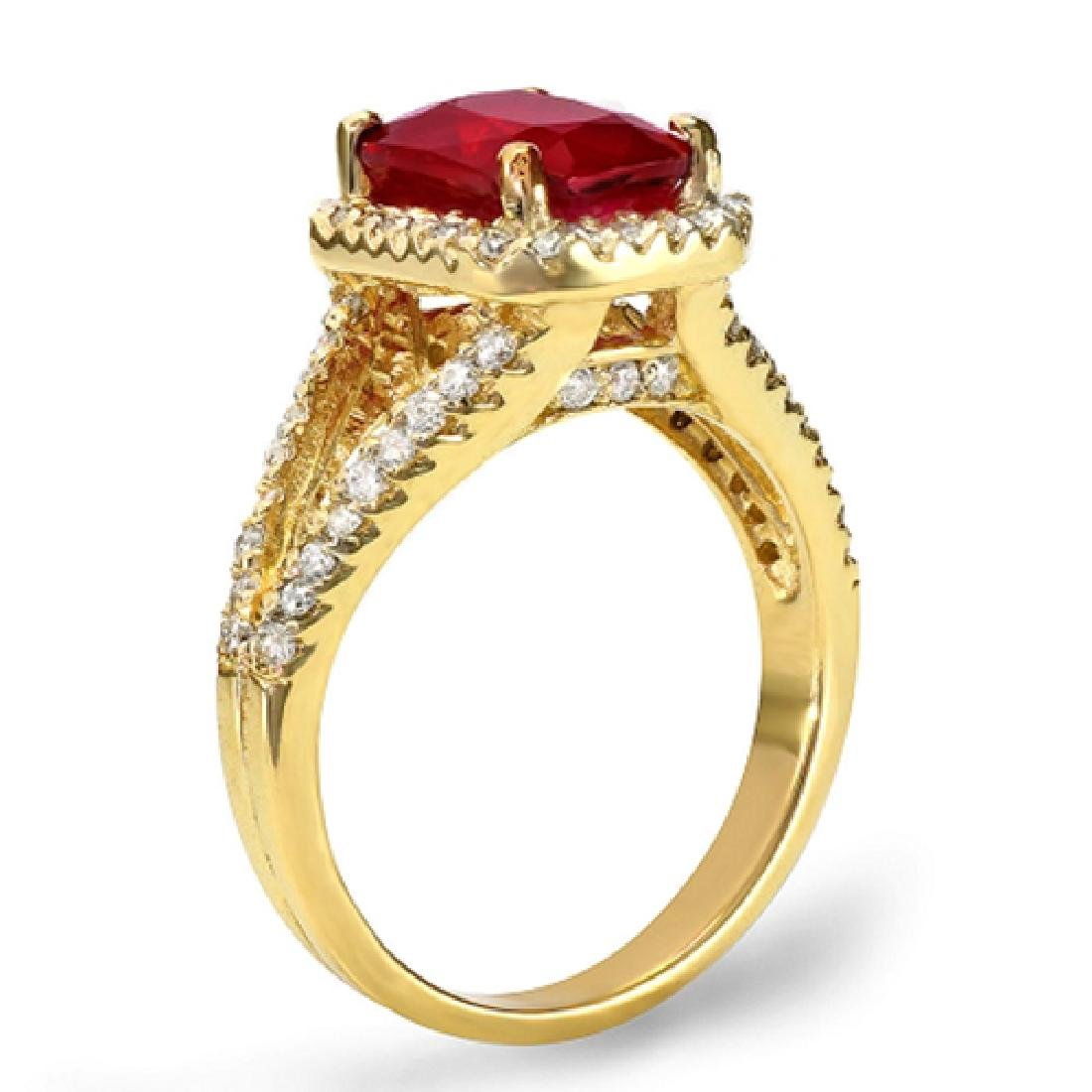 3.70 Carat Natural Ruby 18K Solid Yellow Gold Diamond - 2
