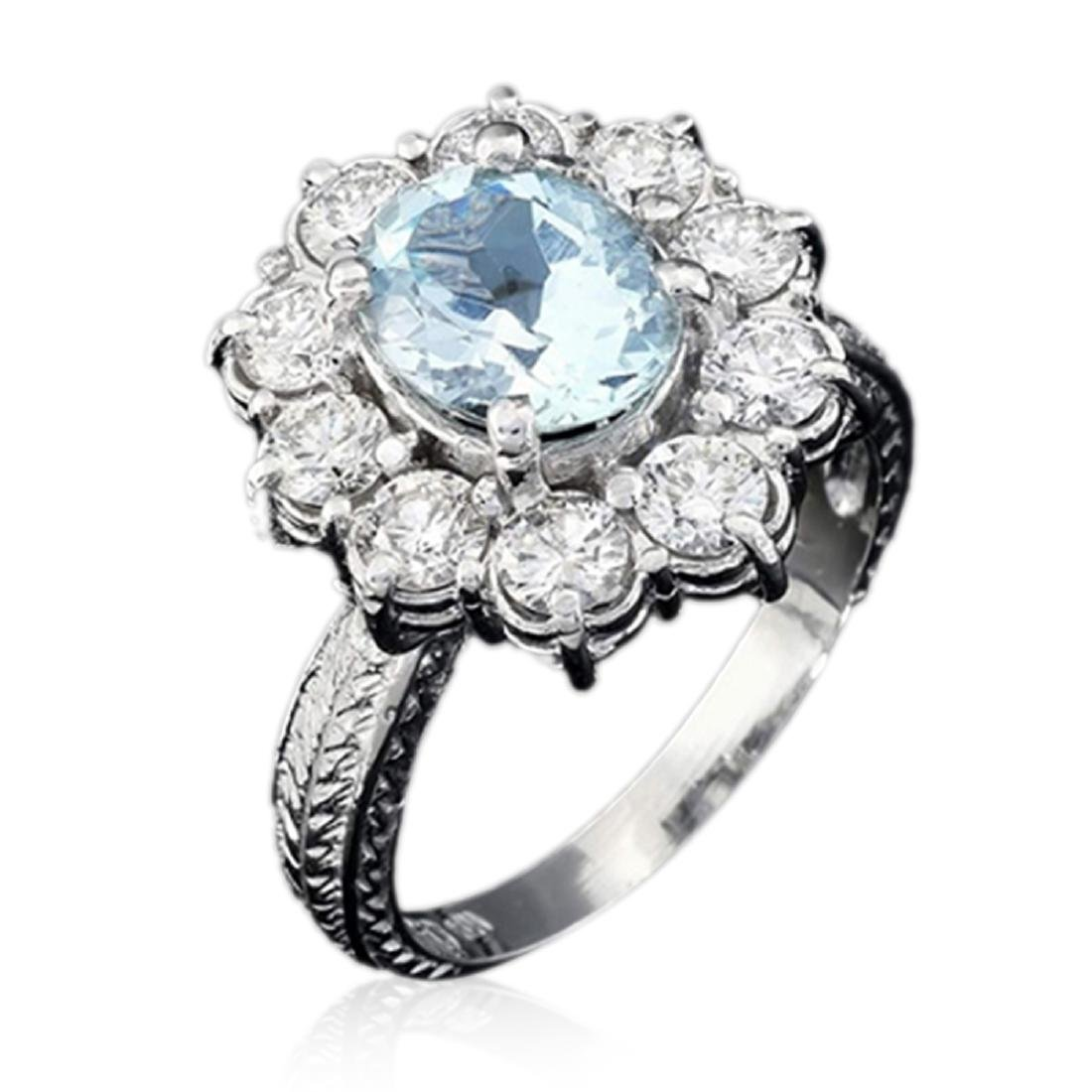 3.30 Carat Natural Aquamarine 18K Solid White Gold