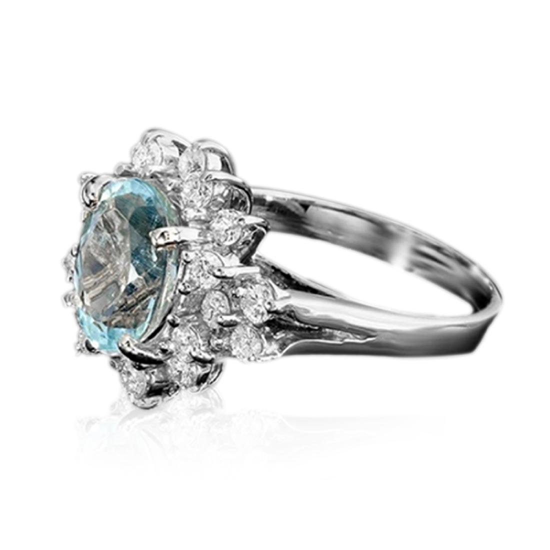 3.30 Carat Natural Aquamarine 18K Solid White Gold - 2