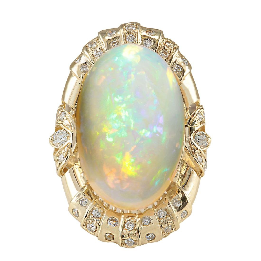 14.98CTW Natural Opal And Diamond Ring In 18K Yellow