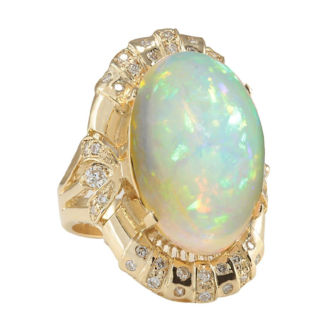 14.98CTW Natural Opal And Diamond Ring In 18K Yellow - 2