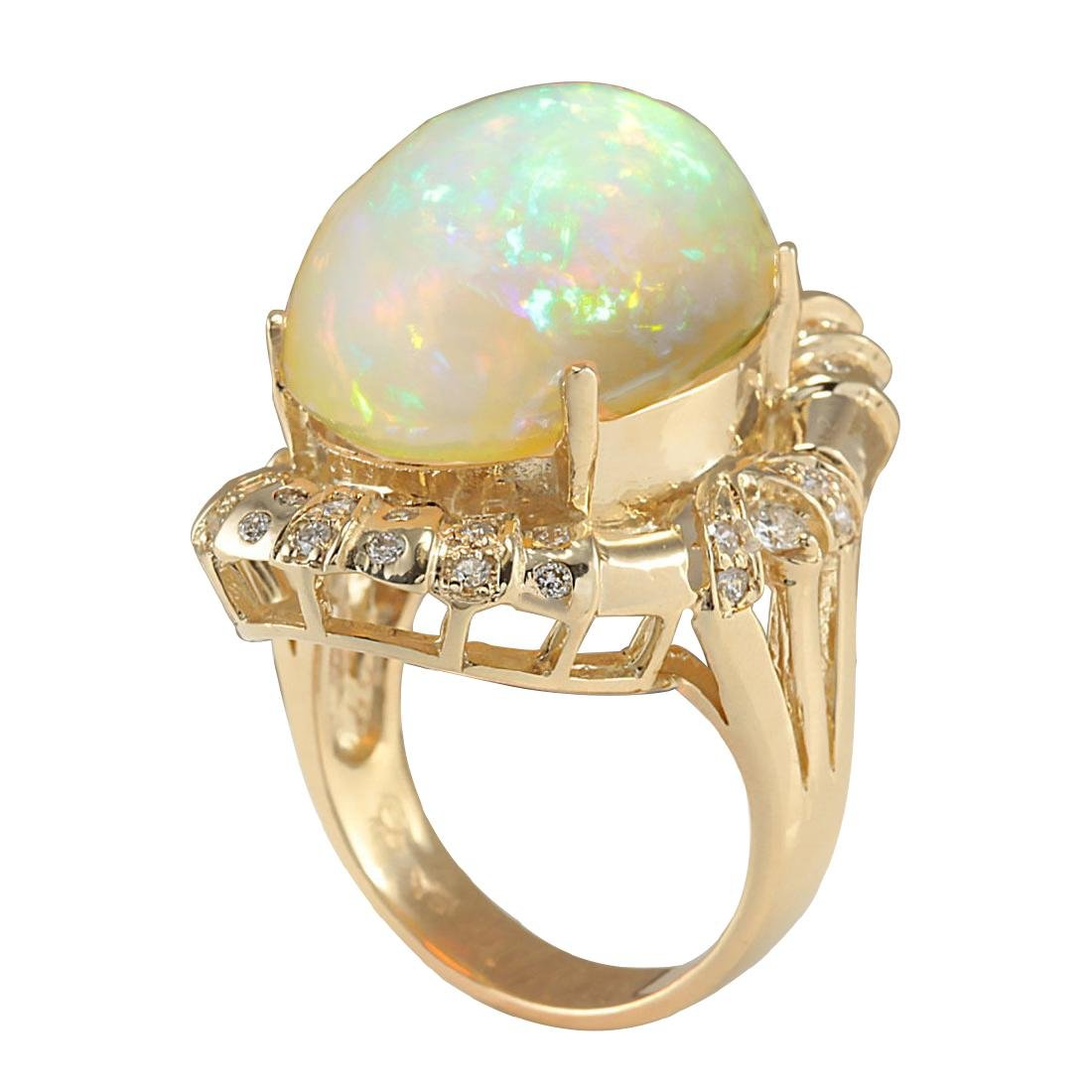14.98CTW Natural Opal And Diamond Ring In 18K Yellow - 3