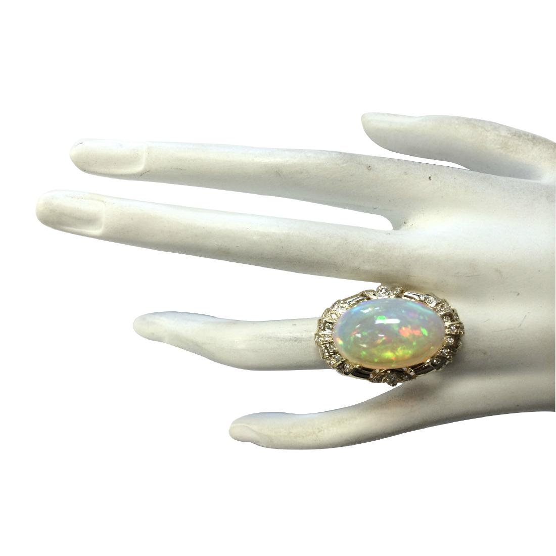 14.98CTW Natural Opal And Diamond Ring In 18K Yellow - 4