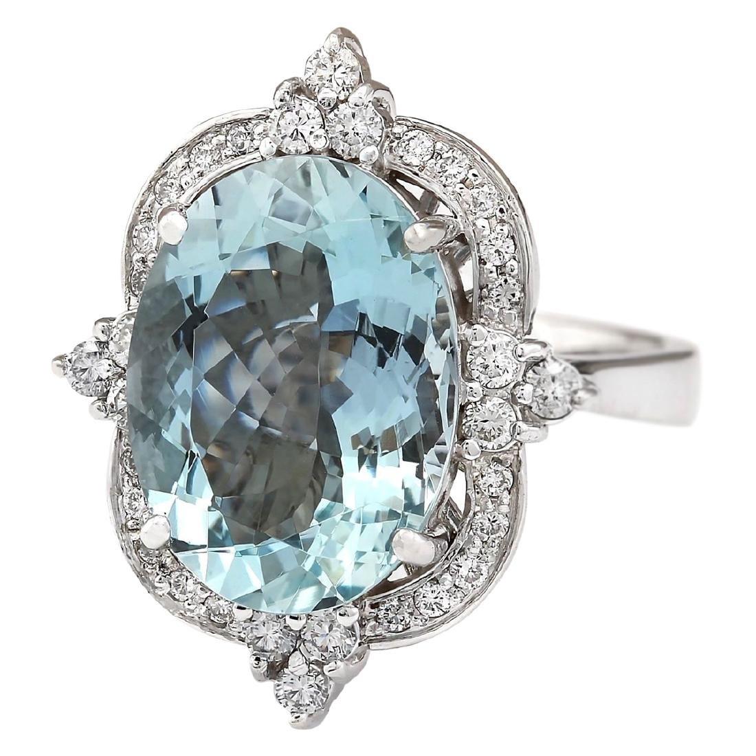 8.22 CTW Natural Aquamarine And Diamond Ring In 18K - 2