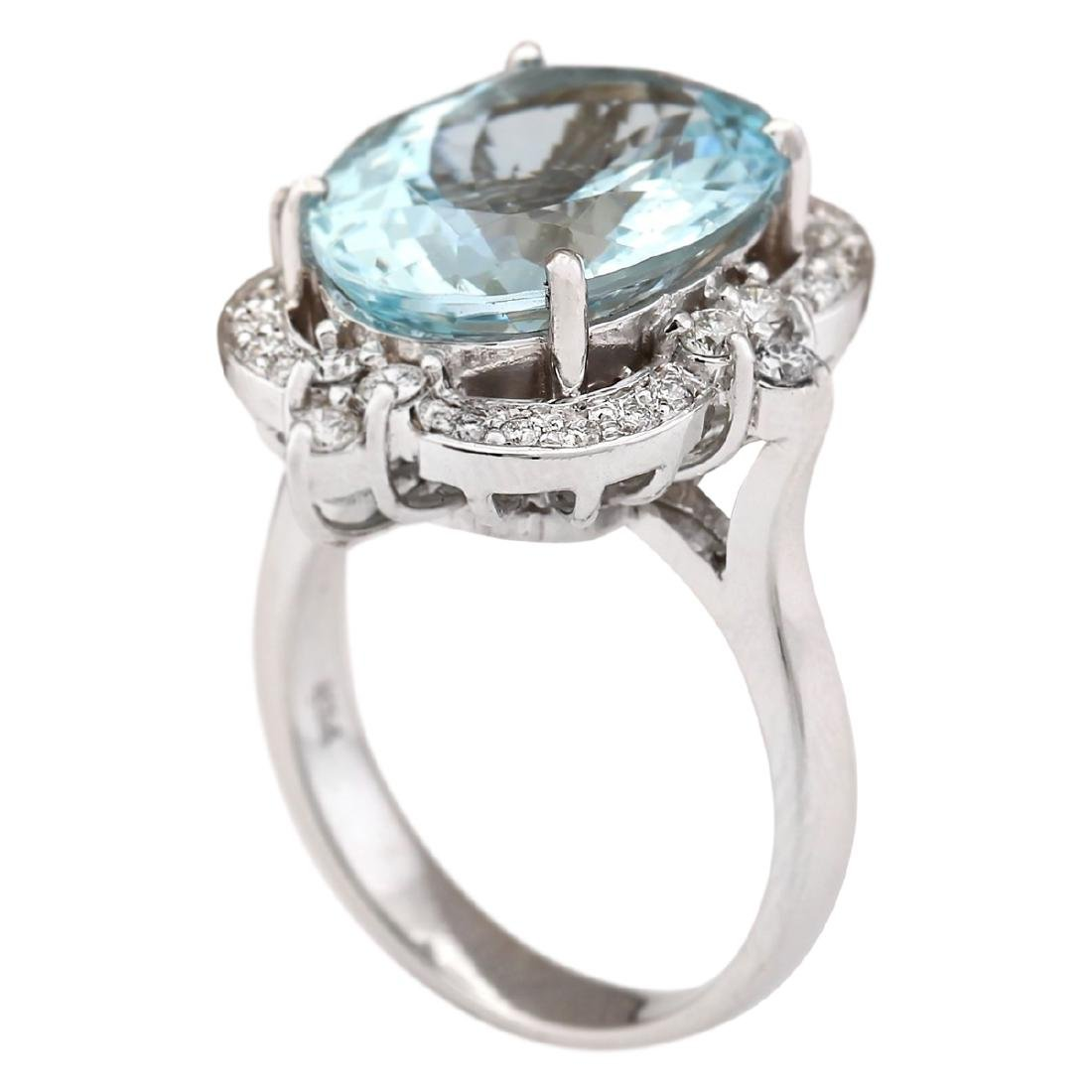 8.22 CTW Natural Aquamarine And Diamond Ring In 18K - 3