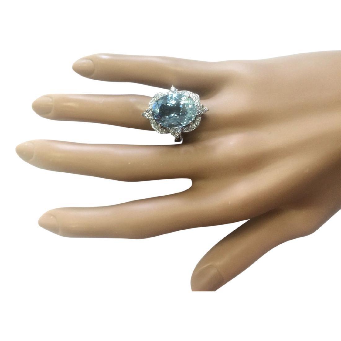 8.22 CTW Natural Aquamarine And Diamond Ring In 18K - 4