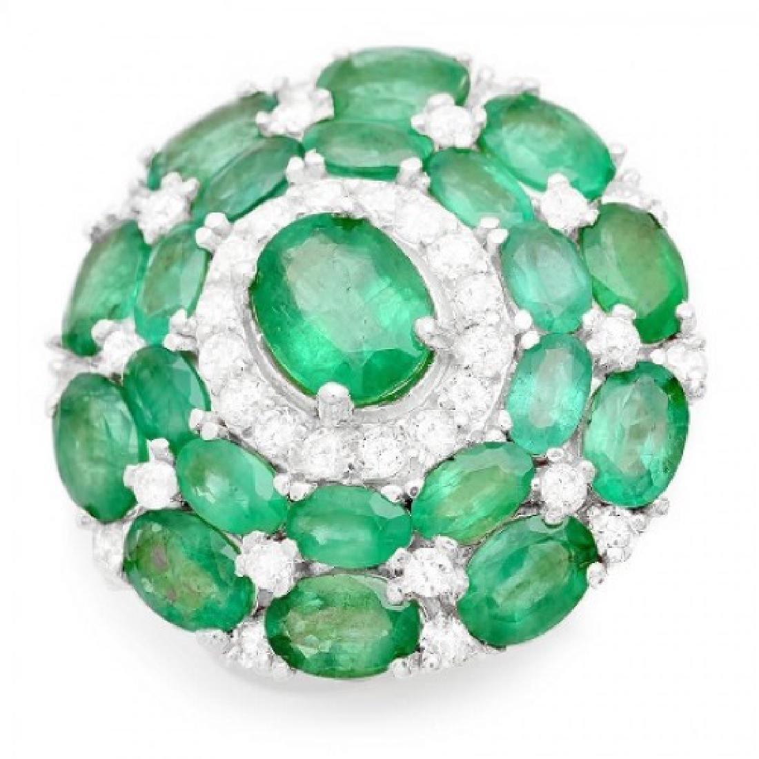8.89 Carat Natural Emerald 18K Solid White Gold Diamond