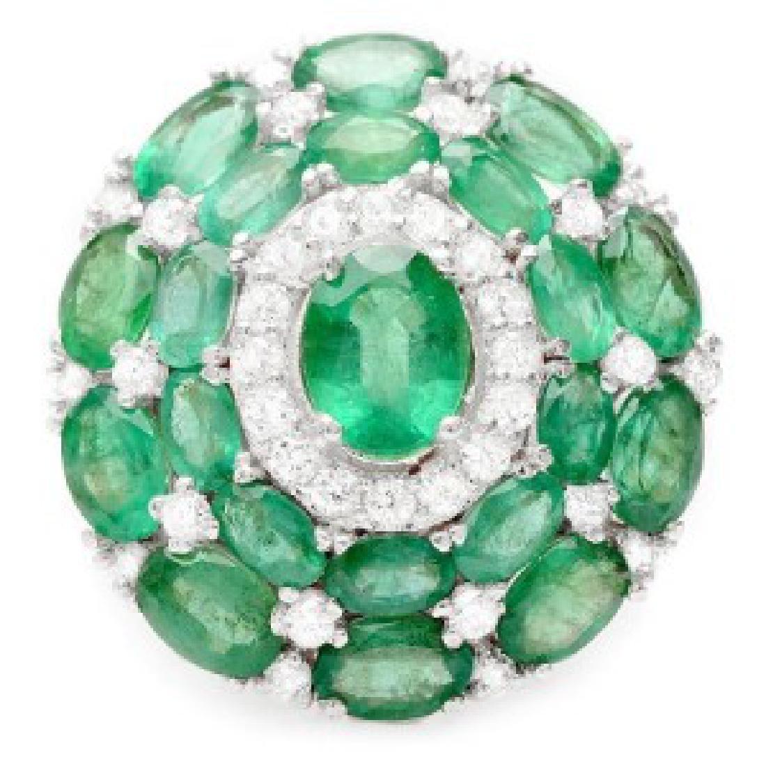 8.89 Carat Natural Emerald 18K Solid White Gold Diamond - 2