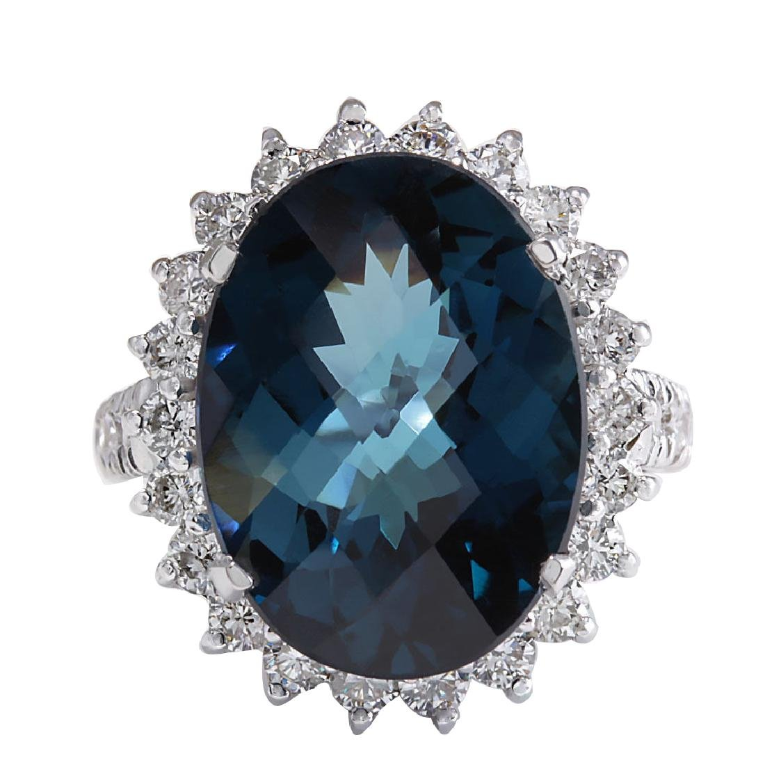 15.99Ct Natural London Blue Topaz And Diamond Ring