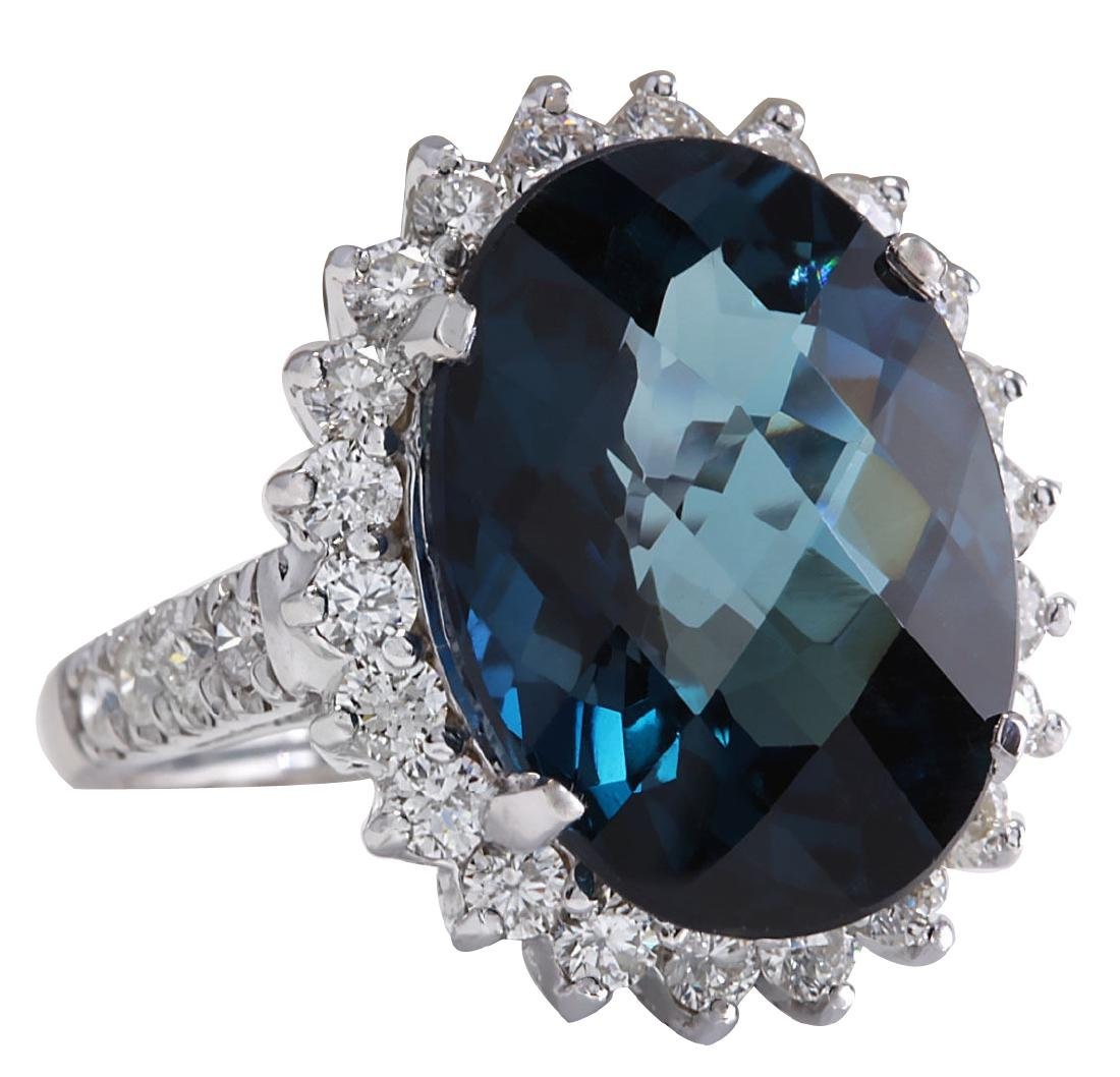 15.99Ct Natural London Blue Topaz And Diamond Ring - 2
