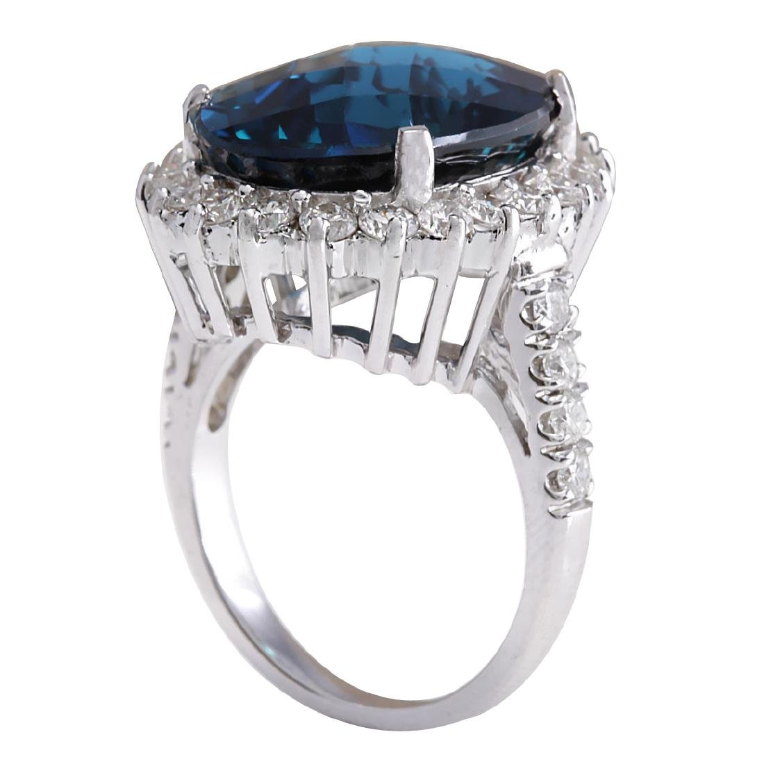 15.99Ct Natural London Blue Topaz And Diamond Ring - 3
