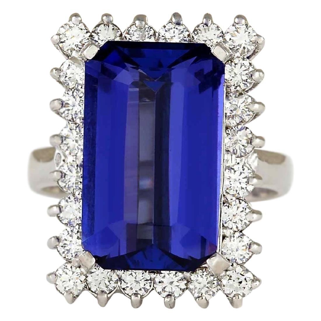 9.05 CTW Natural Blue Tanzanite And Diamond Ring 18K