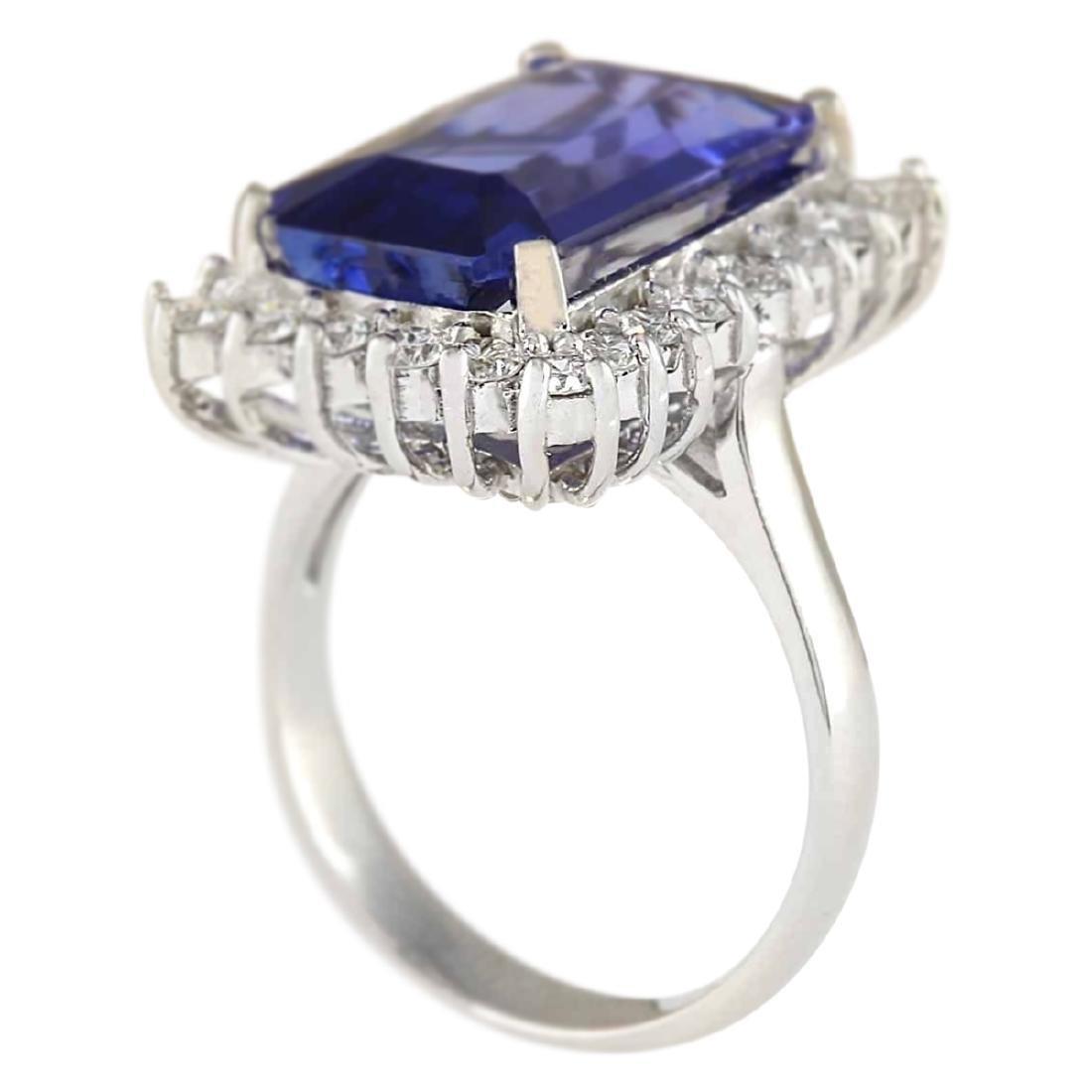 9.05 CTW Natural Blue Tanzanite And Diamond Ring 18K - 3