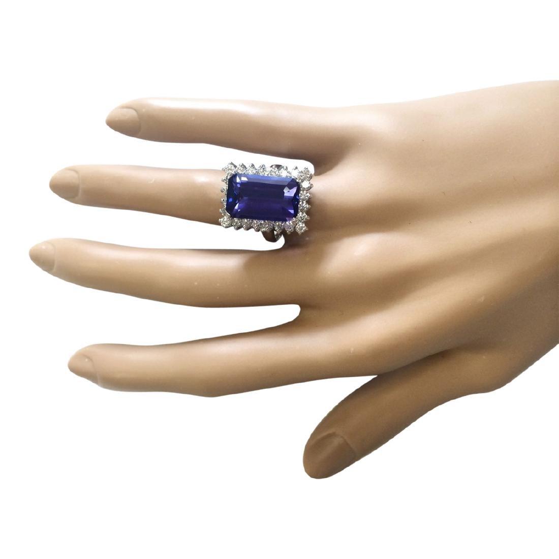 9.05 CTW Natural Blue Tanzanite And Diamond Ring 18K - 4