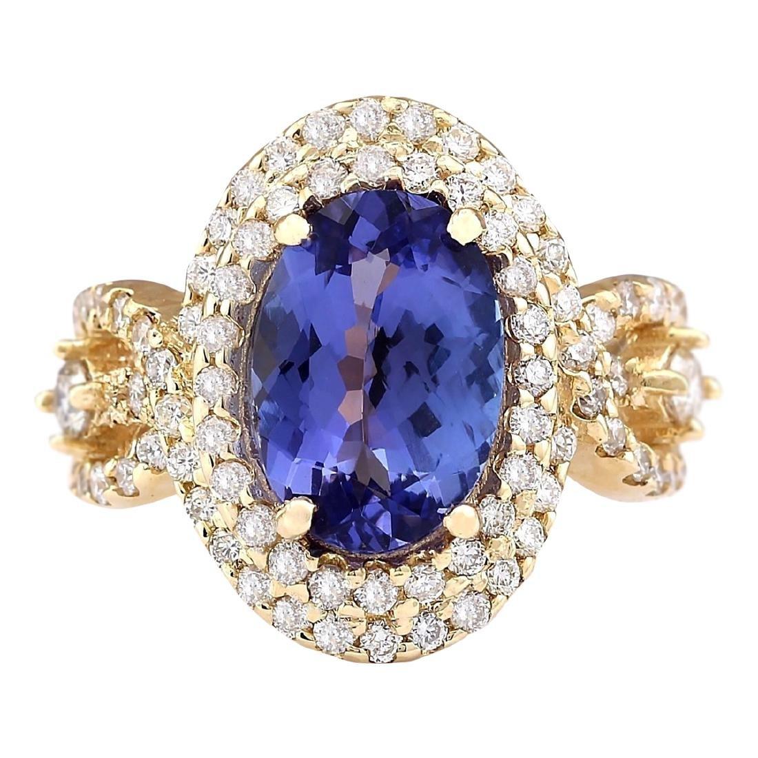 5.11 CTW Natural Tanzanite And Diamond Ring In 18K