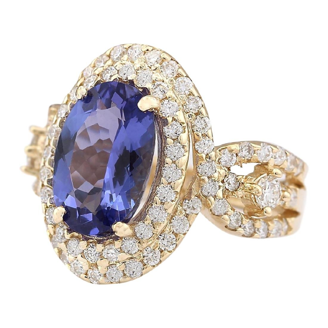 5.11 CTW Natural Tanzanite And Diamond Ring In 18K - 2