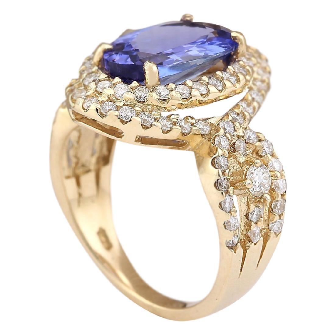 5.11 CTW Natural Tanzanite And Diamond Ring In 18K - 3