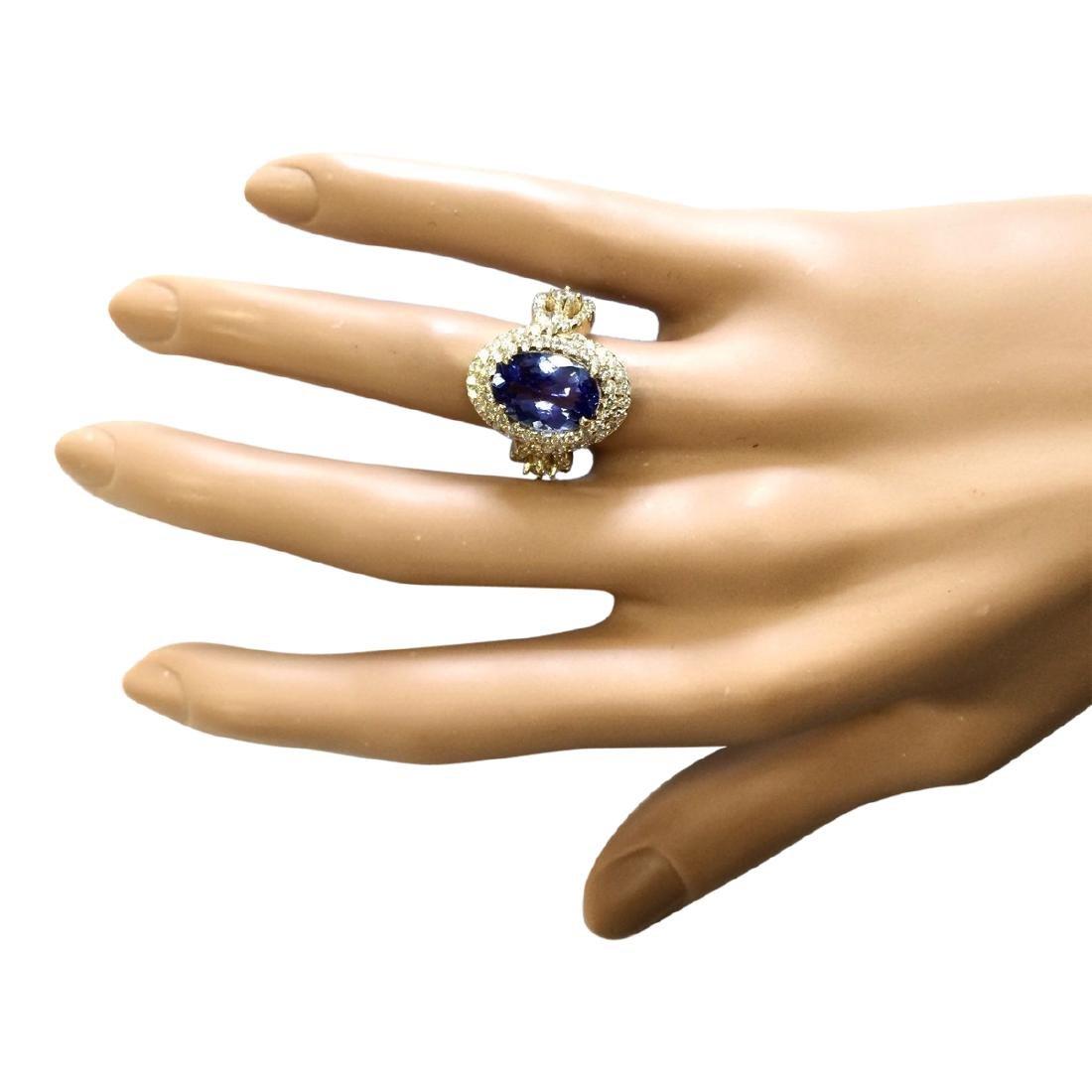 5.11 CTW Natural Tanzanite And Diamond Ring In 18K - 4