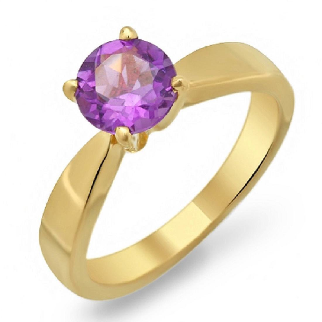 1.30 Carat Natural Amethyst 18K Solid Yellow Gold Ring
