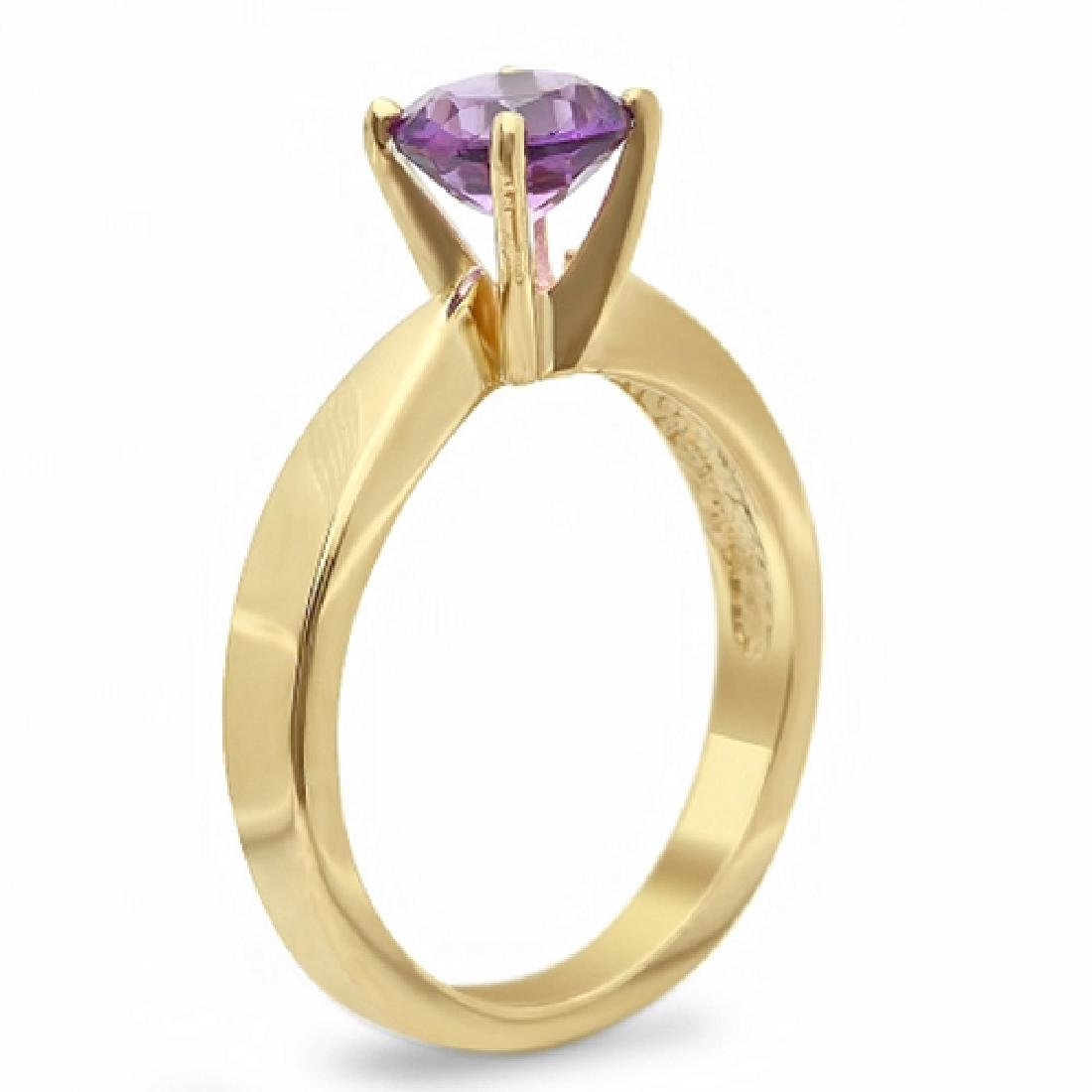 1.30 Carat Natural Amethyst 18K Solid Yellow Gold Ring - 2