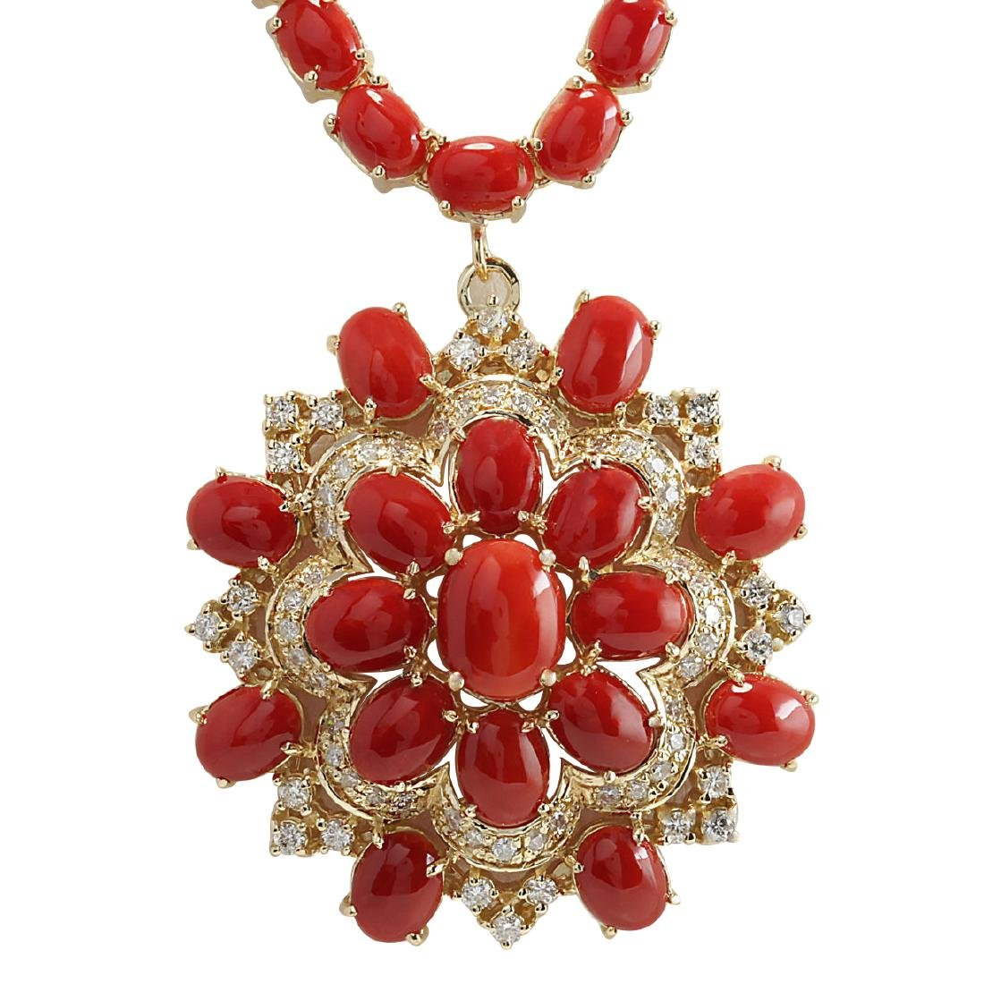 67.80CTW Natural Red Coral And Diamond Necklace In 18K