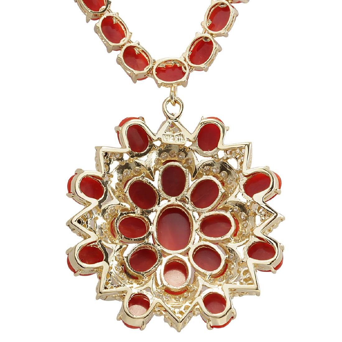 67.80CTW Natural Red Coral And Diamond Necklace In 18K - 2