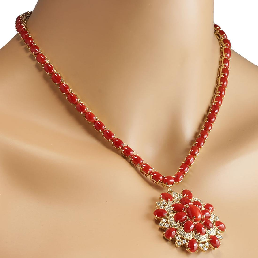 67.80CTW Natural Red Coral And Diamond Necklace In 18K - 4